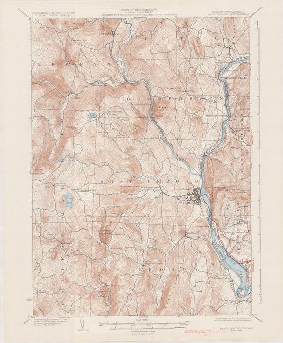 Topographic Map Vermont.Brattleboro Vt 1935 Original Usgs Topographic Map Vermont Etsy