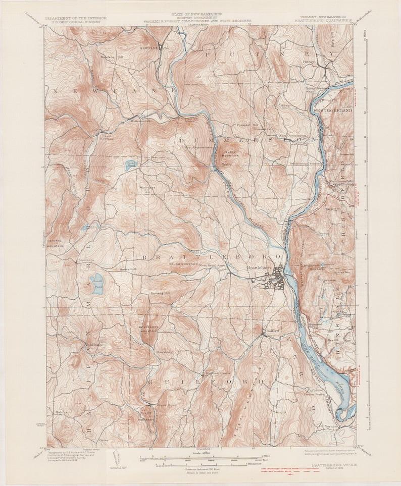 Brattleboro Vt 1935 Original Usgs Topographic Map Vermont Etsy