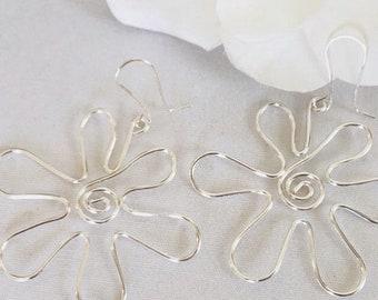 Wire Flower Earrings, Boho Earrings, Hippie Flower Earrings, Statement Earrings, Womens Gift Ideas