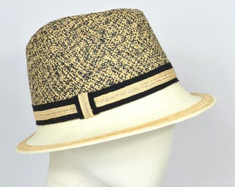 Trilby hat, panama, straw hat, men's hat, summer hat, small brim, natural