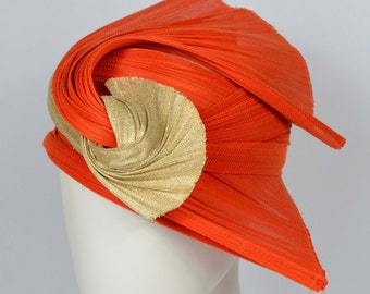 "Turban Hat, Cocktail hat, Buntal, Orange, Gold, ""Swift"""