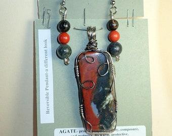 Arizona Jasper/Agate Pendant and Earrings # 3484