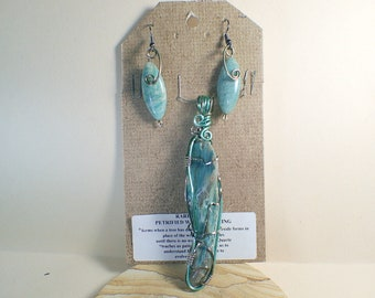 Green Petrified Wood Pendant with earrings (Stone of Transformation)  #3401