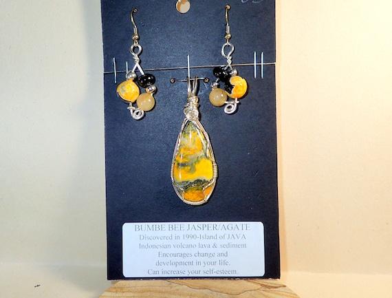 Arizona JasperAgate Pendant and Earrings # 3484