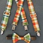 Scarecrow Suspenders and Bow Tie - Plaid Suspenders -  Toddler Scarecrow Outfit - Thanksgiving Photo Prop - Halloween Scarecrow Costume