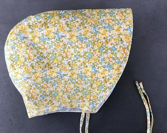 Spring Flowers Baby Bonnet - Infant Sun Hat - 3-6 mo READY TO SHIP - Yellow and Blue Sun Bonnet - Toddler Sun Bonnet - Baby Girl Gift