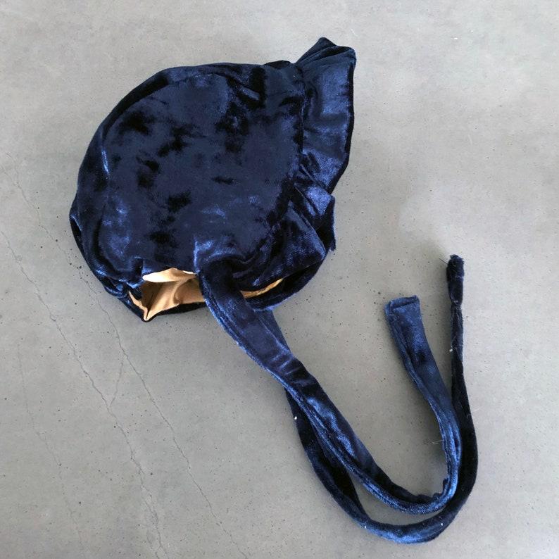 Navy Velvet and Gold  Bonnet  Reversible Bonnet  Boho Baby image 0