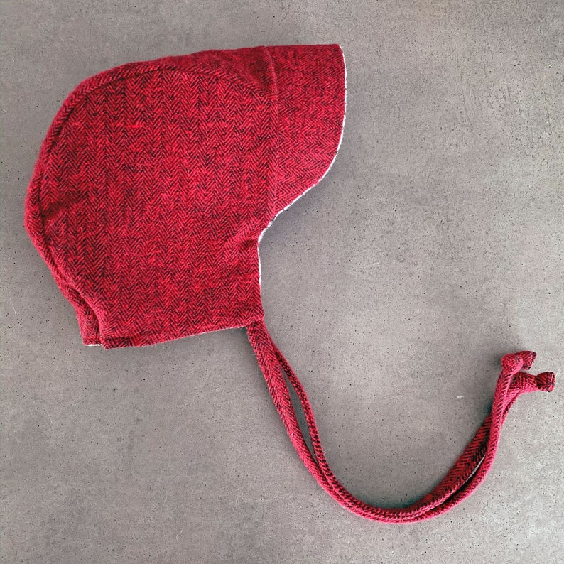 Red and Black Herringbone Hat  Winter Baby Bonnet  Cold image 0