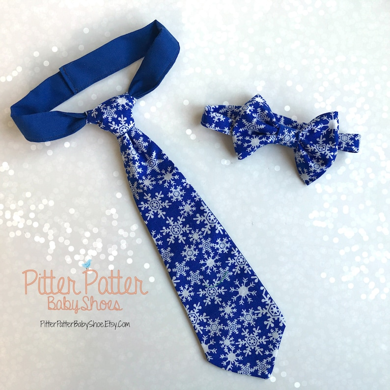 Blue Snowflake Neck Tie  Baby's 1st Christmas  Holiday image 0