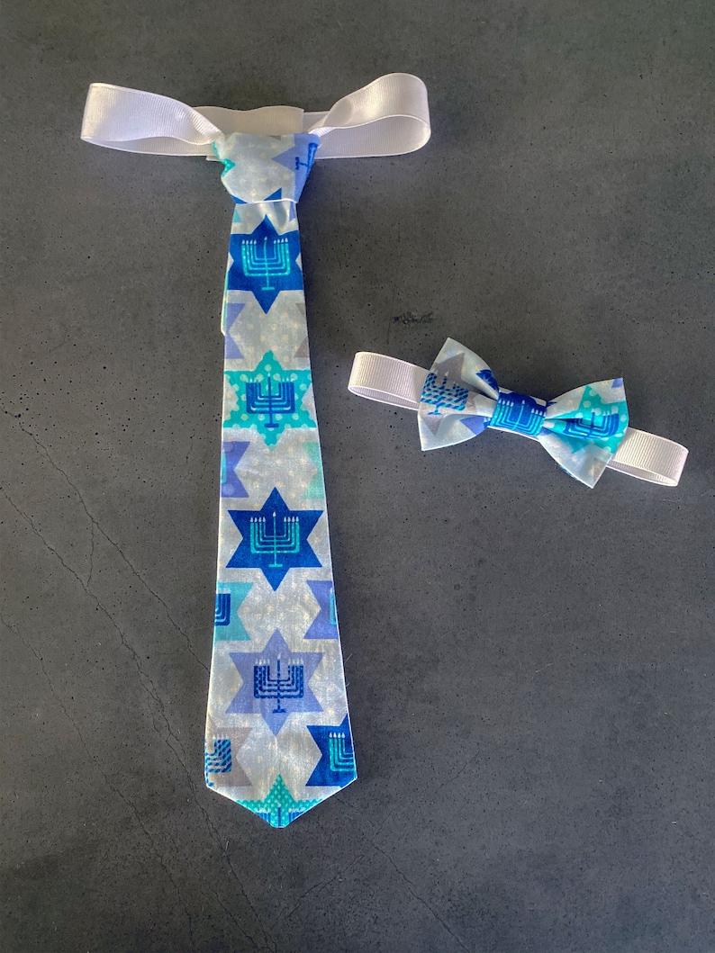 Hanukkah Neck Tie  Jewish Menorah Baby Outfit  Blue Menorah image 0
