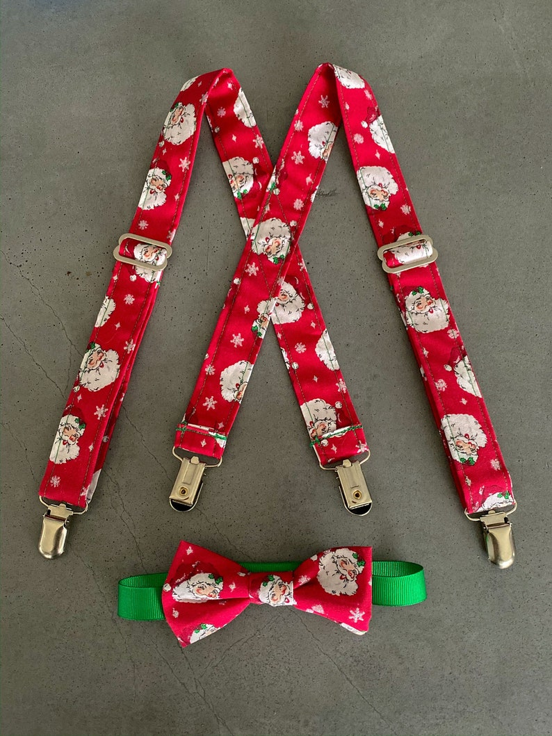 Vintage Santa Suspender and Bow Tie Set  Christmas Holiday image 0