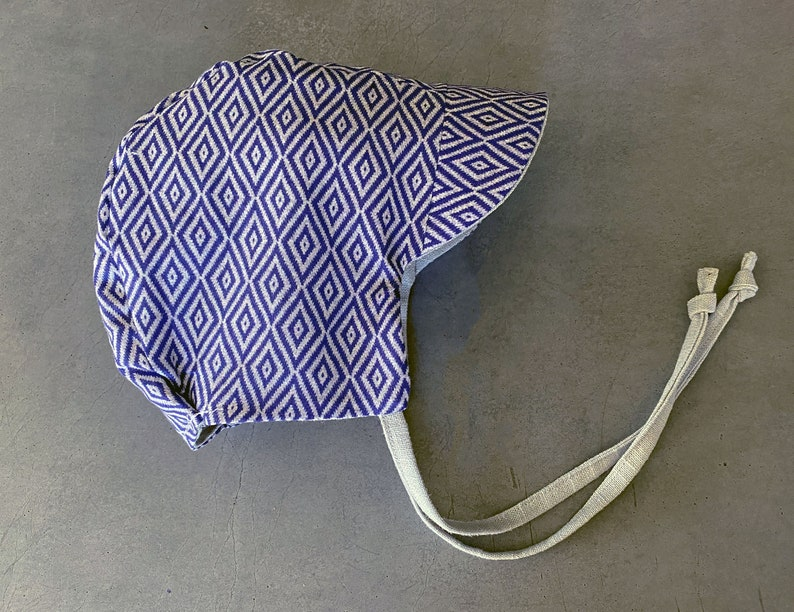 Grey Linen Sun Hat  Toddler Cap  Geometric Baby Gift  Boho image 0