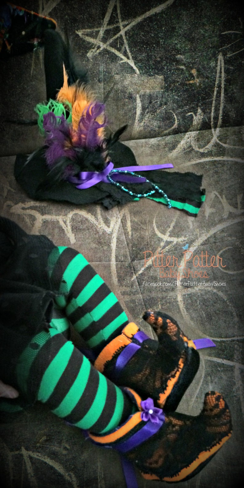 READY TO SHIP Baby Witch Tights  0-9 months  Striped image 0
