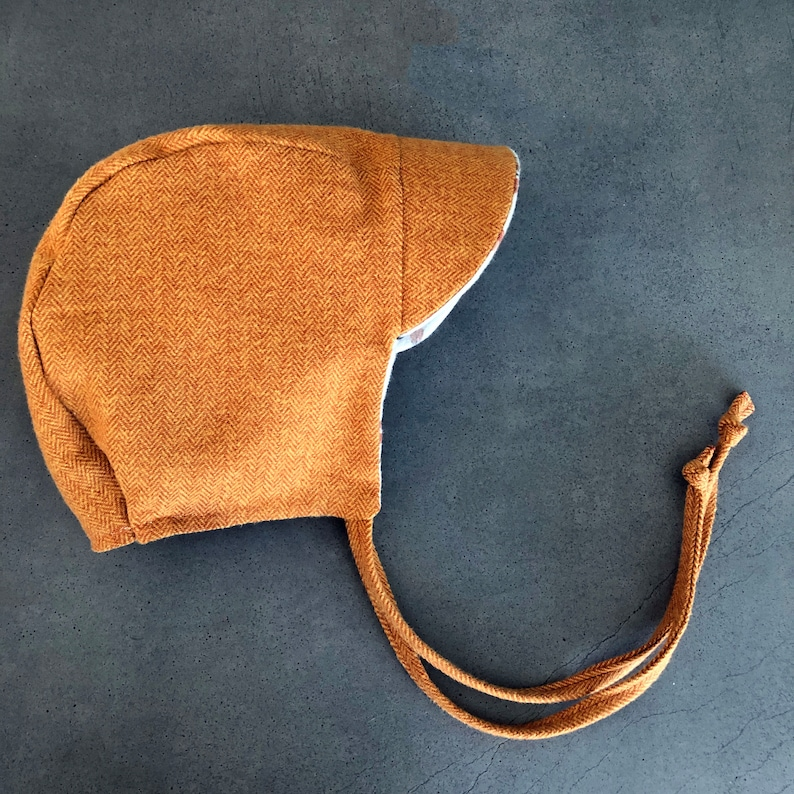 Rust and Gold Herringbone Hat  Winter Baby Bonnet  Cold image 0