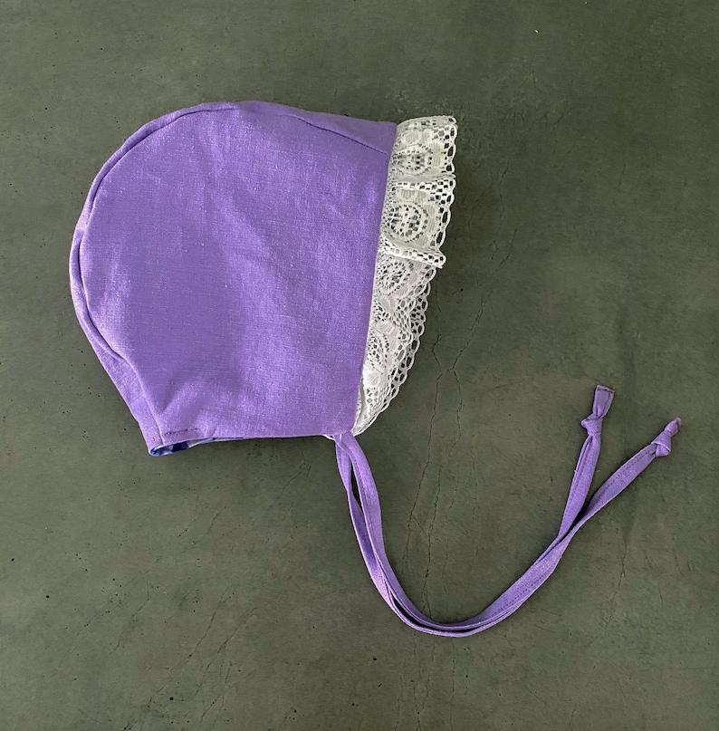 Purple Linen and Lace Easter Bonnet   Floral Baby Bonnet  image 0