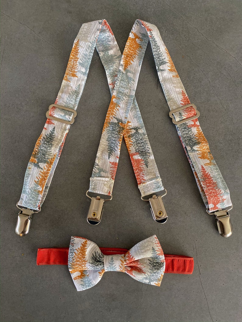 Harvest Evergreen tree Suspender and Bow Tie Set  Boys Fall image 0