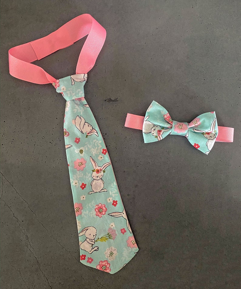 Turquoise Bunny Easter Tie  Bunnies and Flowers   Toddler image 0
