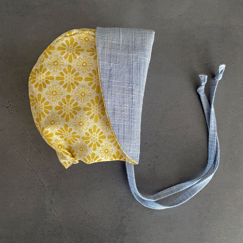 Vintage Yellow and Chambray Linen Bonnet   Baby Sun Bonnet  image 0