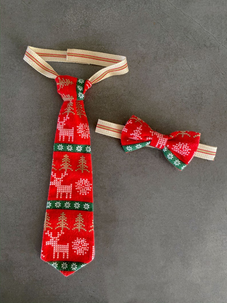 Nordic Cross Stitch Holiday Tie  Boys Neck Tie   Babys 1st image 0