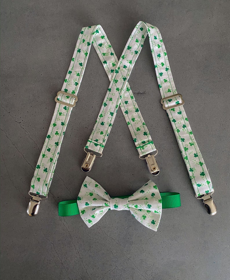 Toddler READY TO SHIP Mini Four Leaf Clover Suspender and Tie image 0