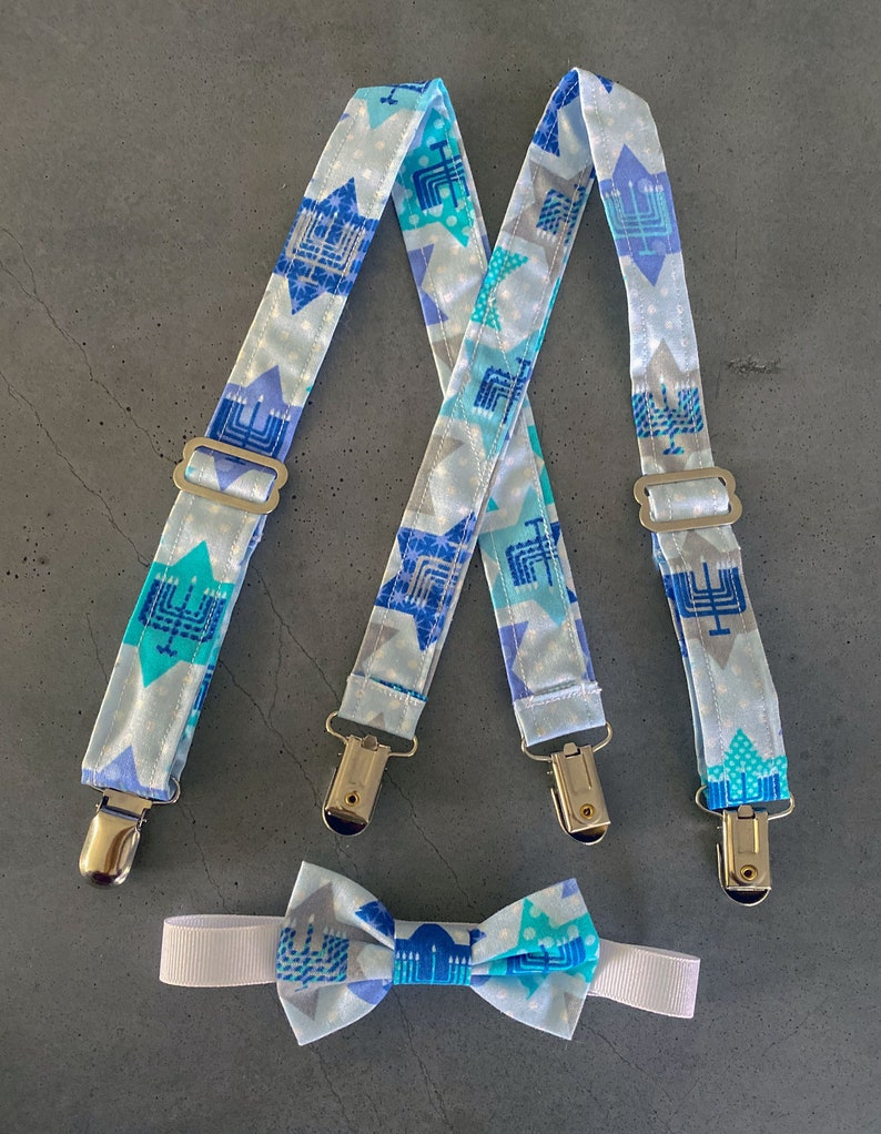 Hanukkah Suspender and Bow Tie Set  Jewish Menorah Baby image 0