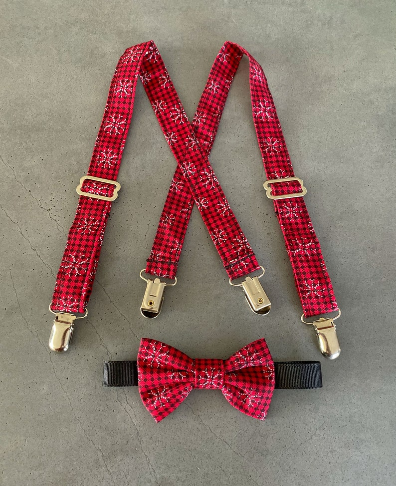 Buffalo Plaid Snowflake Suspender and Bow Tie Set  Baby's image 0