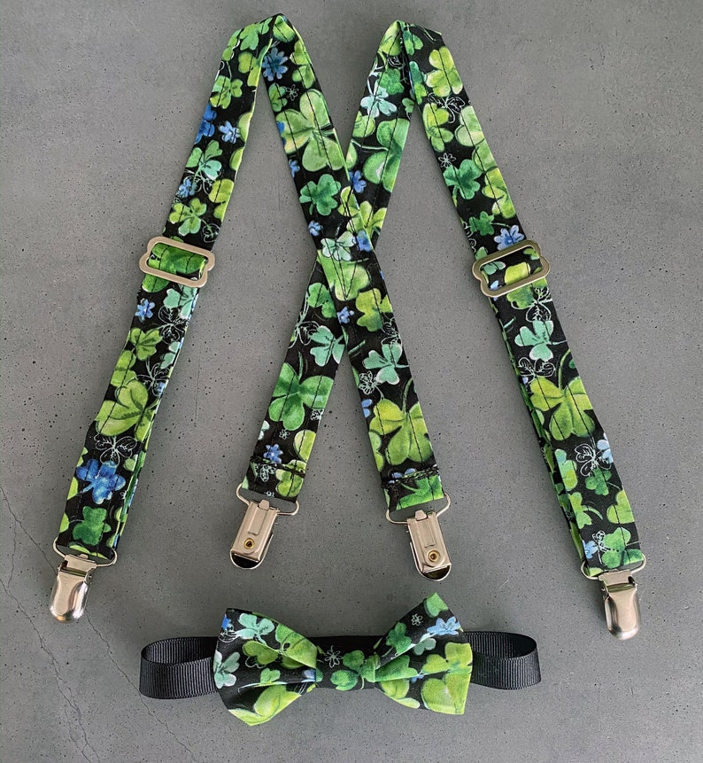 12-24 mo READY TO SHIP  Pastel Shamrock Baby Suspenders and image 0