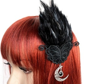 Gothic headpiece with feathers, butterfly and Crescent Moon