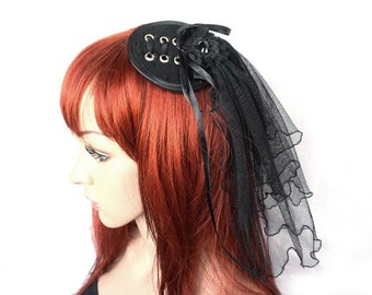 Gothic Fascinator with eyelets and veil