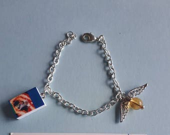 Handmade Harry Potter and The Half Blood Prince based Mini Book Charm Bracelet with Golden Snitch Charm