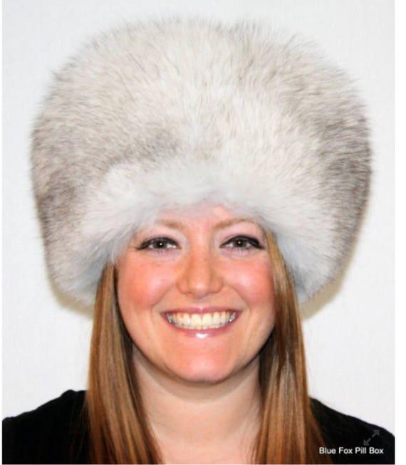 Blue Fox Fur Pill Box Hat