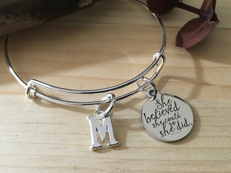 Her\u2019s \u201cShe Believed She Could So She Did  Stainless Steel Adjustable Bangle Bracelet Personalized  Buy Several