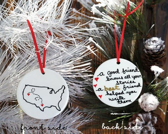 Christmas Ornament, State Ornament, Best Friend Gift, Long Distance Gift, Christmas Gift for Best Friend, Sister Gift, Christmas Gift