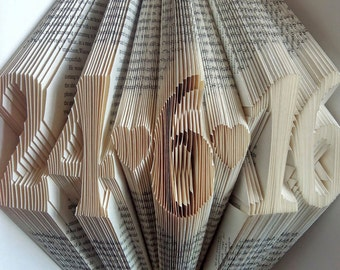 Folded Book Art, First Anniversary Gift, 1st Wedding Anniversary, Paper Anniversary, Gift for Him, Gift for Her, Wedding Date Book