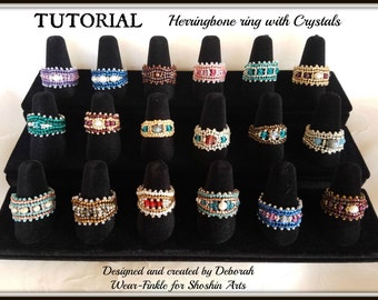 Beaded Ring Tutorial - Herringbone Stitch with Crystals