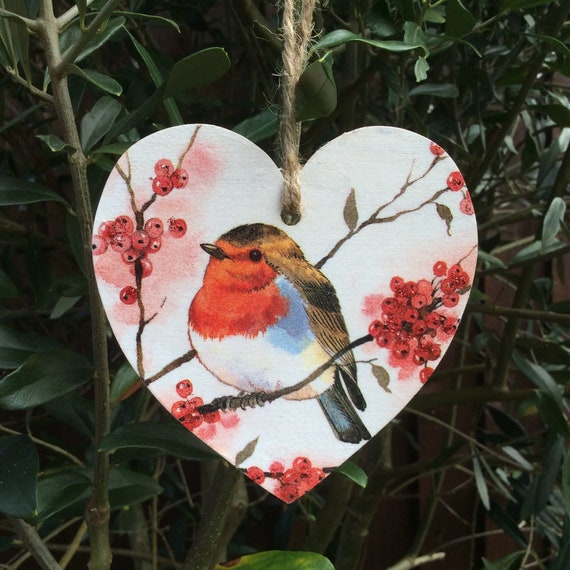 Handpainted /& Decoupaged Christmas Robin Door Plaque Gift can be Personalised