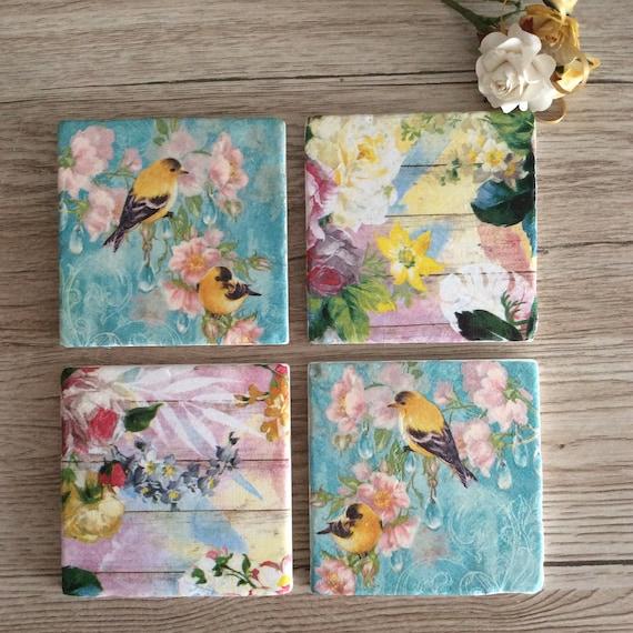 Floral Coasters Floral Tile Art Floral Gift Ideas Vintage Etsy