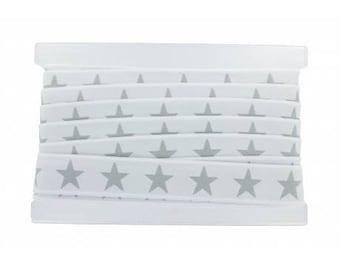 Waistband elastic 40mm star grey white