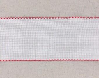 10 cm aida white edged red band