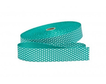 Strap bag with 30mm Mint green polka dots