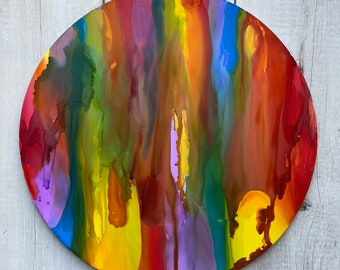 Alcohol Ink Round Painting Rainbow Colors