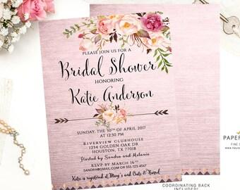 Watercolor Invitation, Boho Bridal Shower Invitation, Bridal Shower Invite, Boho Shower Invitation, Custom Bridal Invite, Quinceanera, BR080