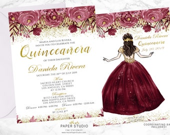 Quinceanera Personalized Floral Spanish Invitation Milestone Invite Sweet 16 Princess Invitaciones De 15 Anos 21st Birthday BDQ001