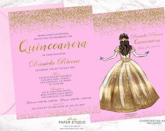 6ae46325e Pink Gold Glitter Invite Gold Quinceanera Invitation Sweet 16 Invitación quince  años Spanish Invite Personalized Invite 21 Birthday BDQ016