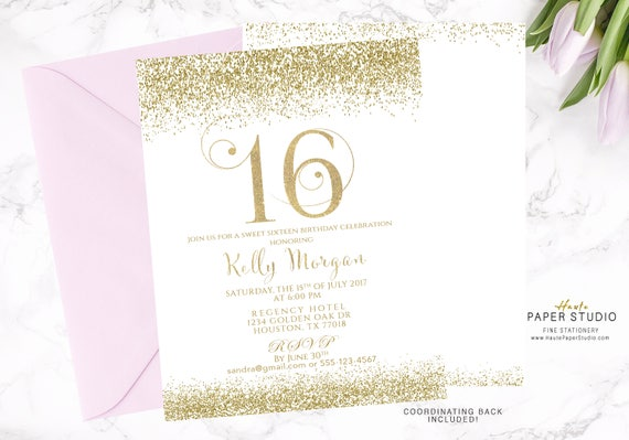 16th Birthday Sweet 16 Invitation Custom