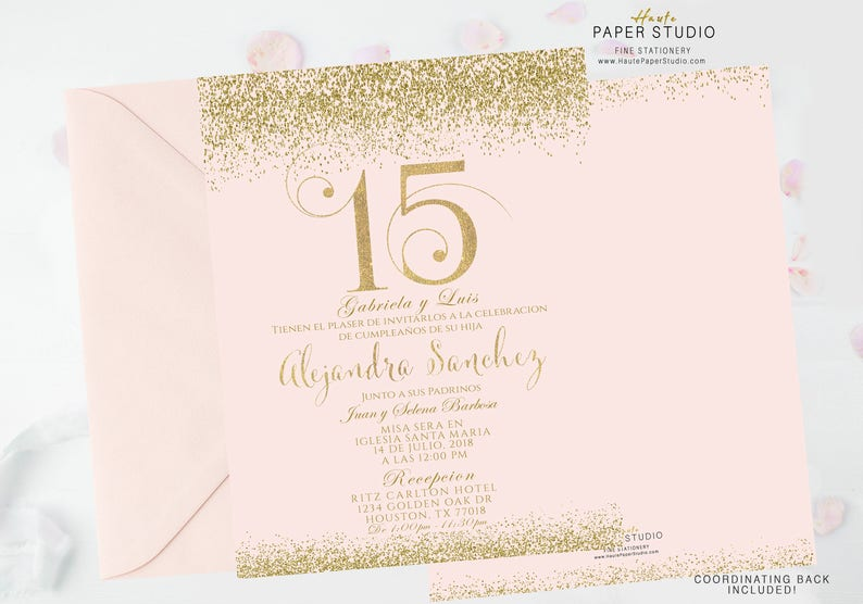 d0f6b97a655 Blush Gold Quinceanera Sweet 16 Quinceanera Invite Birthday