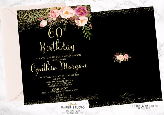 Black Birthday Invitation Glitter Invite Custom