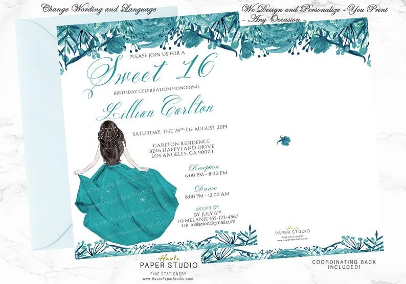 16th Birthday Invite Sweet 16 Invitation Sweet 16 Invite Etsy