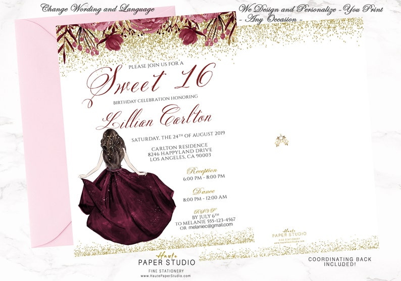 16 Birthday Invite Card Sweet 16 Invitation Card Floral Etsy