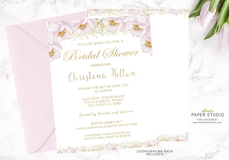 Gift Card Wedding Shower Invitation Wording: Floral Bridal Shower Invitation Gold Shower Invitation